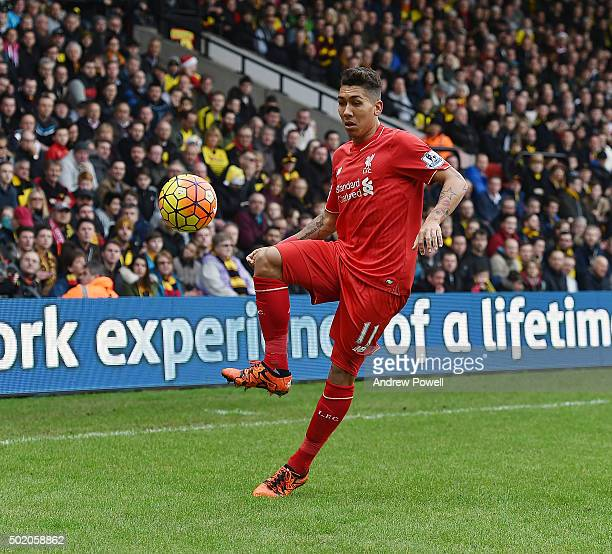 Roberto Firmino of Liverpool during the Barclays Premier League match between Watford and Liverpool at Vicarage Road on December 20 2015 in Watford...