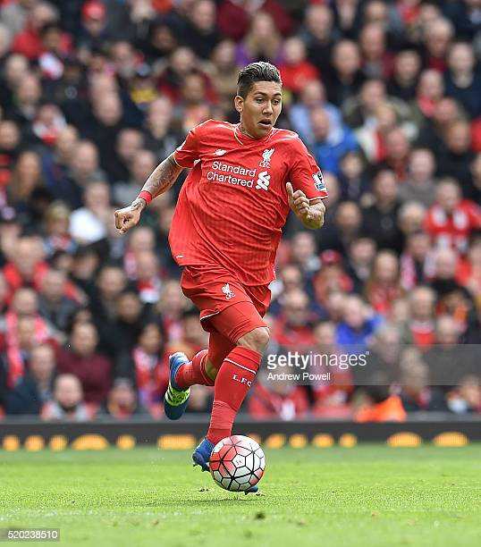 Roberto Firmino of Liverpool during the Barclays Premier League match between Liverpool and Stoke City at Anfield on April 10 2016 in Liverpool...