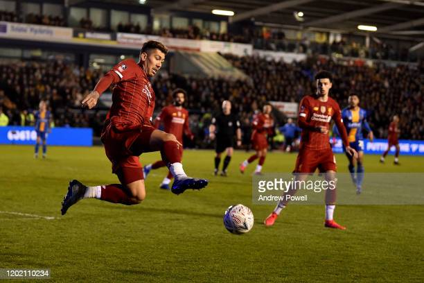 Roberto Firmino of Liverpool during the FA Cup Fourth Round match between Shrewsbury Town and Liverpool FC at New Meadow on January 26 2020 in...