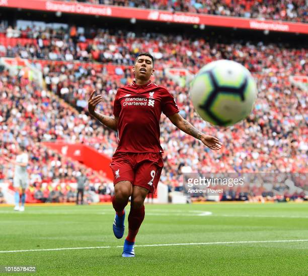 Roberto Firmino of Liverpool during the Premier League match between Liverpool FC and West Ham United at Anfield on August 12 2018 in Liverpool...