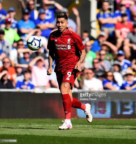 Roberto Firmino of Liverpool during the Premier League match between Cardiff City and Liverpool FC at Cardiff City Stadium on April 21 2019 in...