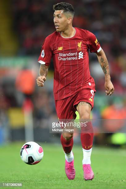 Roberto Firmino of Liverpool during the Premier League match between Liverpool FC and Norwich City at Anfield on August 09 2019 in Liverpool United...