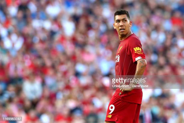 Roberto Firmino of Liverpool during the Premier League match between Liverpool FC and Arsenal FC at Anfield on August 24 2019 in Liverpool United...