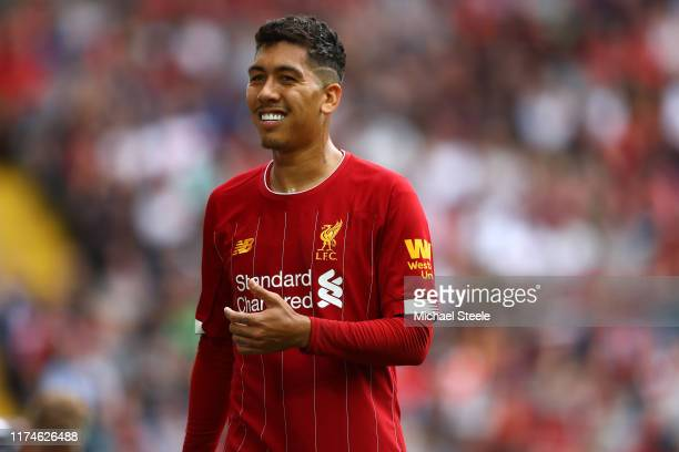 Roberto Firmino of Liverpool during the Premier League match between Liverpool FC and Newcastle United at Anfield on September 14 2019 in Liverpool...