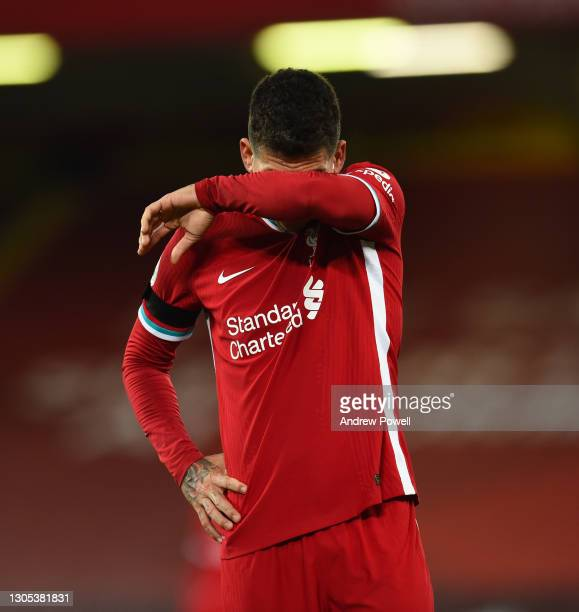 Roberto Firmino of Liverpool during the Premier League match between Liverpool and Chelsea at Anfield on March 04, 2021 in Liverpool, England....