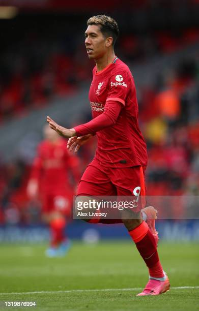 Roberto Firmino of Liverpool during the Premier League match between Liverpool and Crystal Palace at Anfield on May 23, 2021 in Liverpool, England.