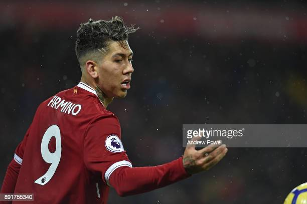 Roberto Firmino of Liverpool during the Premier League match between Liverpool and West Bromwich Albion at Anfield on December 13 2017 in Liverpool...
