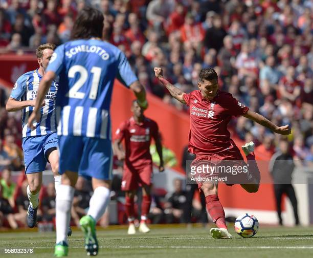 Roberto Firmino of Liverpool during the Premier League match between Liverpool and Brighton and Hove Albion at Anfield on May 13 2018 in Liverpool...