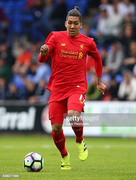 Roberto Firmino of Liverpool during the PreSeason Friendly match between Tranmere Rovers and Liverpool at Prenton Park on July 8 2016 in Birkenhead...