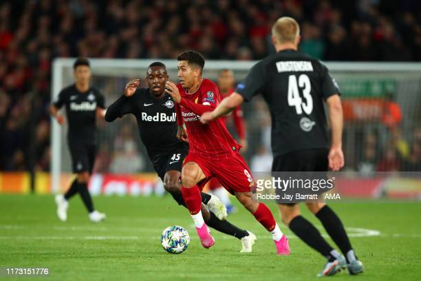 Roberto Firmino of Liverpool during the UEFA Champions League group E match between Liverpool FC and RB Salzburg at Anfield on October 2 2019 in...