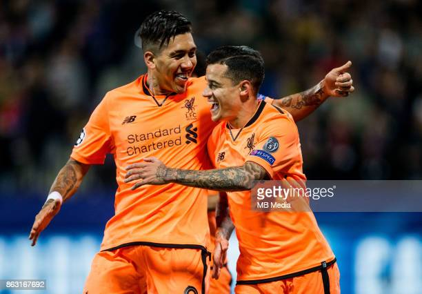 Roberto Firmino of Liverpool FC and Philippe Coutinho of Liverpool FC celebrate after scoring second goal for Liverpool during UEFA Champions League...