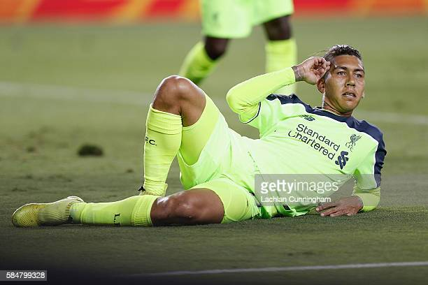 Roberto Firmino of Liverpool FC celebrates a goal during the International Champions Cup match against AC Milan at Levi's Stadium on July 30 2016 in...