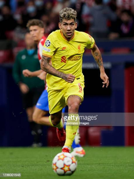 Roberto Firmino of Liverpool FC during the UEFA Champions League match between Atletico Madrid v Liverpool at the Estadio Wanda Metropolitano on...