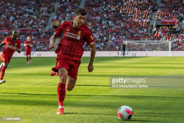 Roberto Firmino of Liverpool FC in action during the Pre-Season Friendly match between Liverpool FC and Olympique Lyonnais at Stade de Geneve on July...