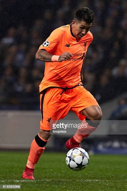 Roberto Firmino of Liverpool FC in actionduring the UEFA Champions League Round of 16 First Leg match between FC Porto and Liverpool FC at Estadio do...