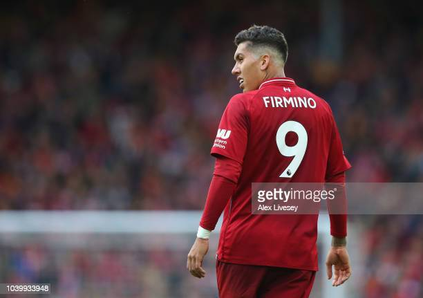 Roberto Firmino of Liverpool FC looks on during the Premier League match between Liverpool FC and Southampton FC at Anfield on September 22 2018 in...
