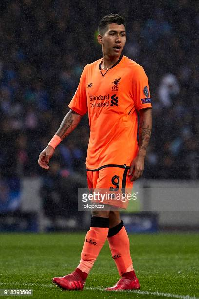 Roberto Firmino of Liverpool FC looks on during the UEFA Champions League Round of 16 First Leg match between FC Porto and Liverpool FC at Estadio do...