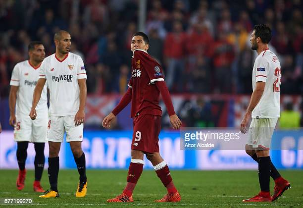 Roberto Firmino of Liverpool FC reacts during the UEFA Champions League group E match between Sevilla FC and Liverpool FC at Estadio Ramon Sanchez...