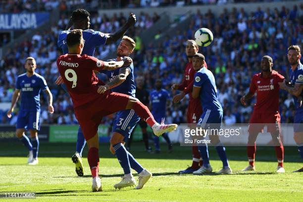 Roberto Firmino of Liverpool heads towards goal during the Premier League match between Cardiff City and Liverpool FC at Cardiff City Stadium on...