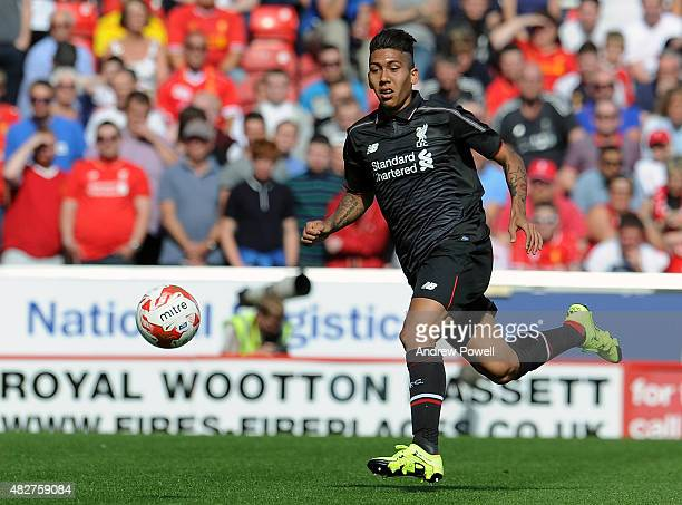 Roberto Firmino of Liverpool in action during a preseason friendly at County Ground on August 2, 2015 in Swindon, England.