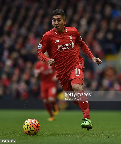 Roberto Firmino of Liverpool in action during the Barclays Premier League match between Liverpool and Sunderland at Anfield on February 6 2016 in...