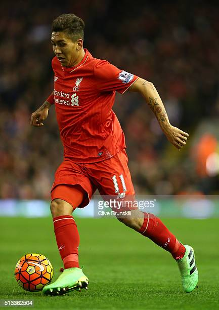 Roberto Firmino of Liverpool in action during the Barclays Premier League match between Liverpool and Manchester City at Anfield on March 2 2016 in...