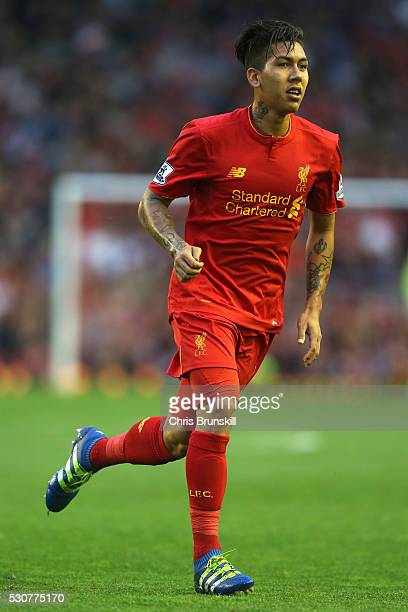 Roberto Firmino of Liverpool in action during the Barclays Premier League match between Liverpool and Chelsea at Anfield on May 11 2016 in Liverpool...