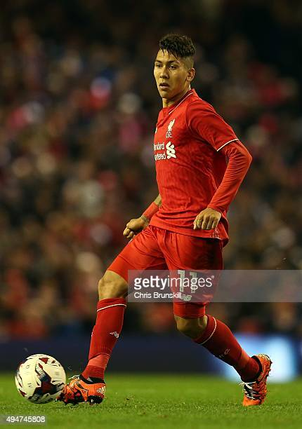 Roberto Firmino of Liverpool in action during the Capital One Cup Fourth Round match between Liverpool and AFC Bournemouth at Anfield on October 28...