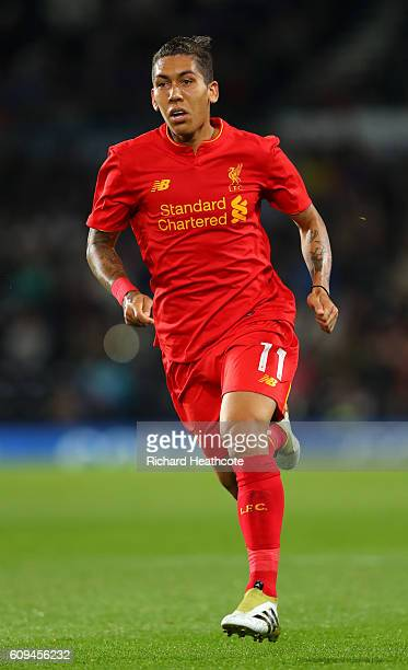 Roberto Firmino of Liverpool in action during the EFL Cup Third Round match between Derby County and Liverpool at iPro Stadium on September 20 2016...