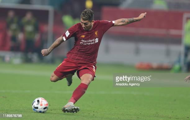 Roberto Firmino of Liverpool in action during the FIFA Club World Cup Qatar 2019 Final match between Liverpool FC and CR Flamengo at Khalifa...