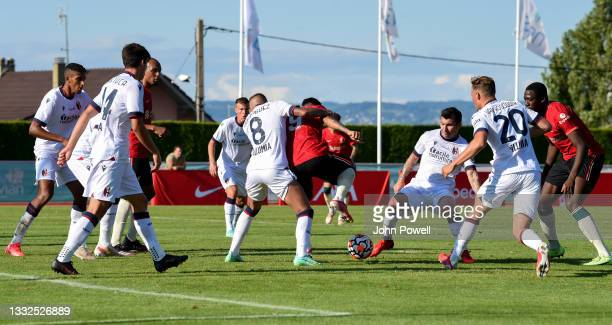 Roberto Firmino of Liverpool in action during the Pre Season match between Liverpool and Bologna on August 05, 2021 in Evian-les-Bains, France.