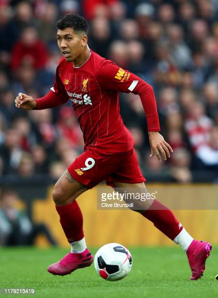 Roberto Firmino of Liverpool in action during the Premier League match between Liverpool FC and Leicester City at Anfield on October 05 2019 in...