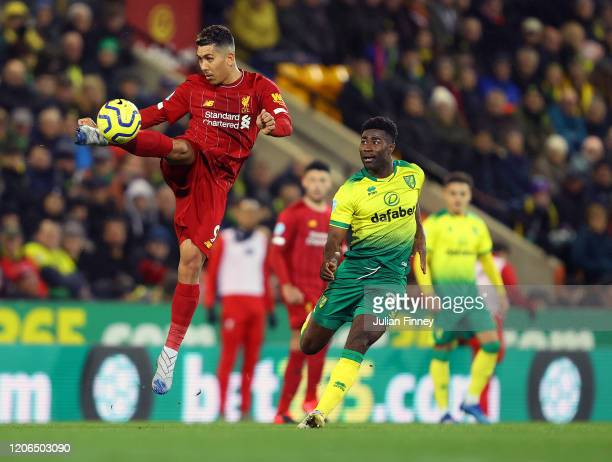 Roberto Firmino of Liverpool in action during the Premier League match between Norwich City and Liverpool FC at Carrow Road on February 15 2020 in...