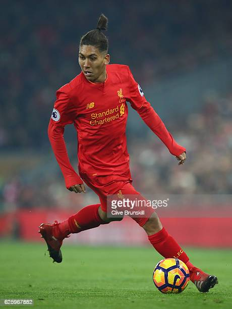 Roberto Firmino of Liverpool in action during the Premier League match between Liverpool and Sunderland at Anfield on November 26 2016 in Liverpool...
