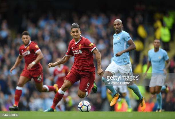 Roberto Firmino of Liverpool in action during the Premier League match between Manchester City and Liverpool at Etihad Stadium on September 9 2017 in...