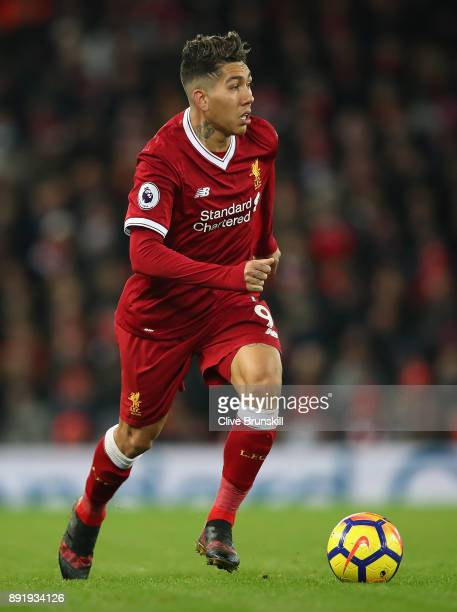 Roberto Firmino of Liverpool in action during the Premier League match between Liverpool and West Bromwich Albion at Anfield on December 13 2017 in...