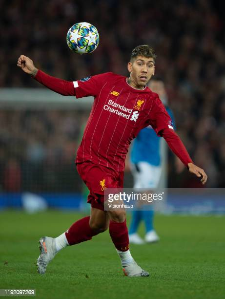Roberto Firmino of Liverpool in action during the UEFA Champions League group E match between Liverpool FC and SSC Napoli at Anfield on November 27...