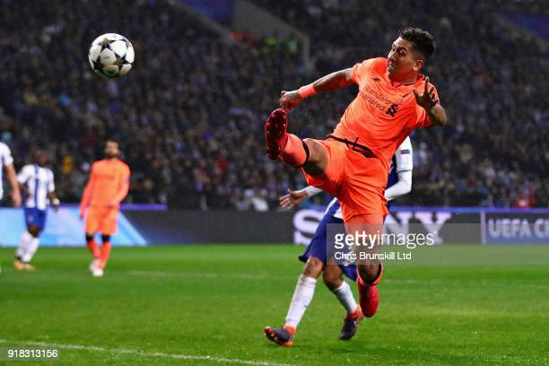 Roberto Firmino of Liverpool in action during the UEFA Champions League Round of 16 First Leg match between FC Porto and Liverpool at Estadio do...