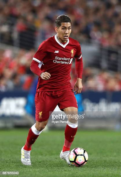 Roberto Firmino of Liverpool looks controls the ball during the International Friendly match between Sydney FC and Liverpool FC at ANZ Stadium on May...