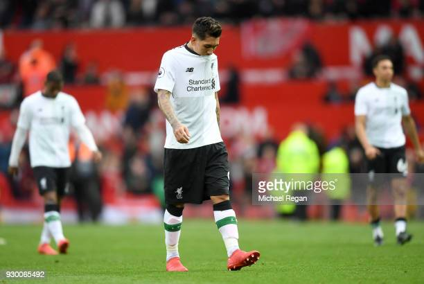 Roberto Firmino of Liverpool looks dejected after the Premier League match between Manchester United and Liverpool at Old Trafford on March 10 2018...