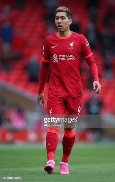 Roberto Firmino of Liverpool looks on during the Premier League match between Liverpool and Crystal Palace at Anfield on May 23, 2021 in Liverpool,...