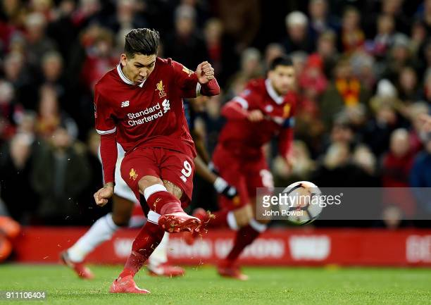 Roberto Firmino of Liverpool misses a penalty during The Emirates FA Cup Fourth Round match between Liverpool and West Bromwich Albion at Anfield on...