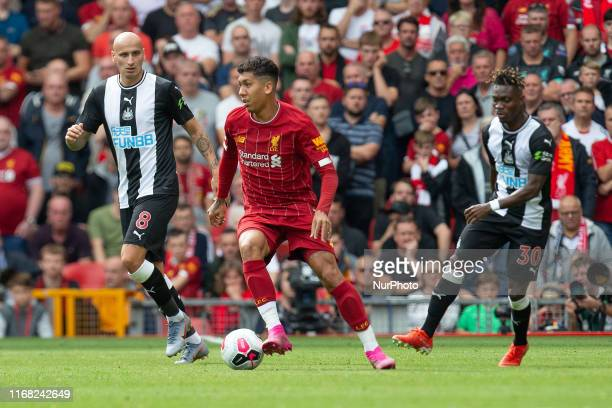 Roberto Firmino of Liverpool on the ball during the Premier League match between Liverpool and Newcastle United at Anfield Liverpool on Saturday 14th...