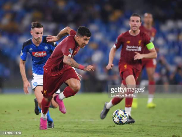 Roberto Firmino of Liverpool on the break during the UEFA Champions League group E match between SSC Napoli and Liverpool FC at Stadio San Paolo on...