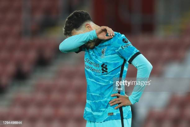 Roberto Firmino of Liverpool reacts after the Premier League match between Southampton and Liverpool at St Mary's Stadium on January 04, 2021 in...