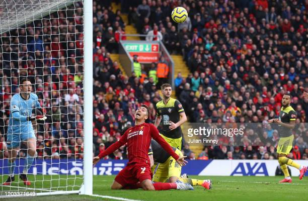 Roberto Firmino of Liverpool reacts during the Premier League match between Liverpool FC and Southampton FC at Anfield on February 01, 2020 in...
