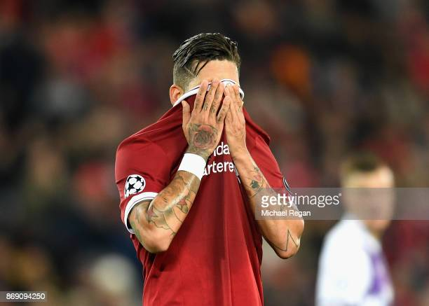 Roberto Firmino of Liverpool reacts during the UEFA Champions League group E match between Liverpool FC and NK Maribor at Anfield on November 1 2017...