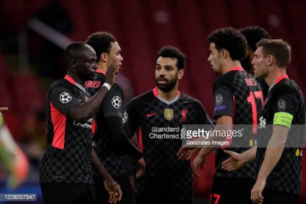 Roberto Firmino of Liverpool Sadio Mane of Liverpool Mohamed Salah of Liverpool Celebrating 01 Curtis Jones of Liverpool Trent Alexander Arnold of...