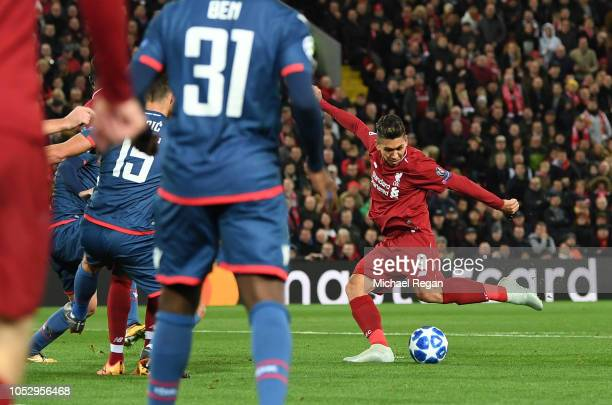 Roberto Firmino of Liverpool scores his team's first goal during the Group C match of the UEFA Champions League between Liverpool and FK Crvena...