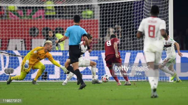 Roberto Firmino of Liverpool scores his team's first goal during the FIFA Club World Cup Qatar 2019 Final match between Liverpool FC and CR Flamengo...